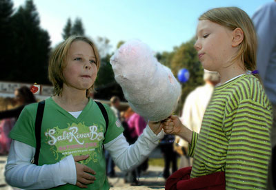 Two Little Girls Enjoying Our Cotton Candy